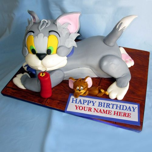 Cartoon Birthday Cake Images With Name : Write Name On Tom and Jerry Kids Birthday Cake Online ...