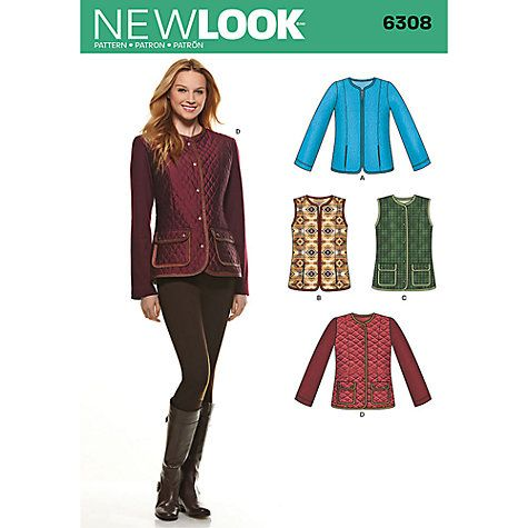 Buy New Look Women\'s Jackets & Gilets Sewing Patterns, 6308 Online ...
