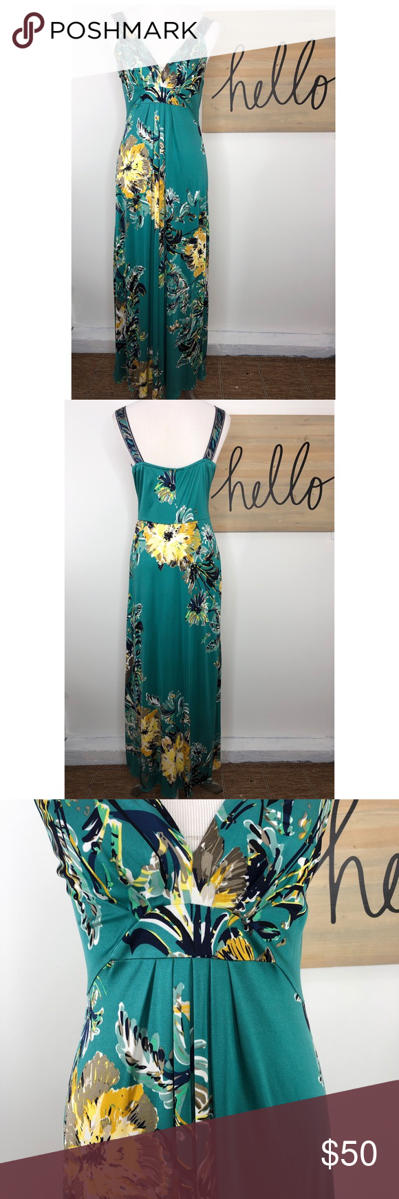 Elie Tahari Floral V Neck Maxi Dress Resort Wear Dresses Maxi Dress Dresses [ 1740 x 580 Pixel ]