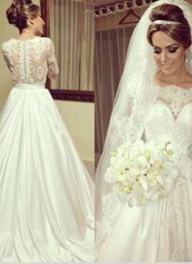 Vestido de noiva manga longa « .br
