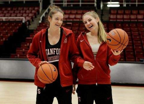 Stanford has a new sister tandem in Bonnie and Karlie Samuelson. (AP Photo/Ben Margot)