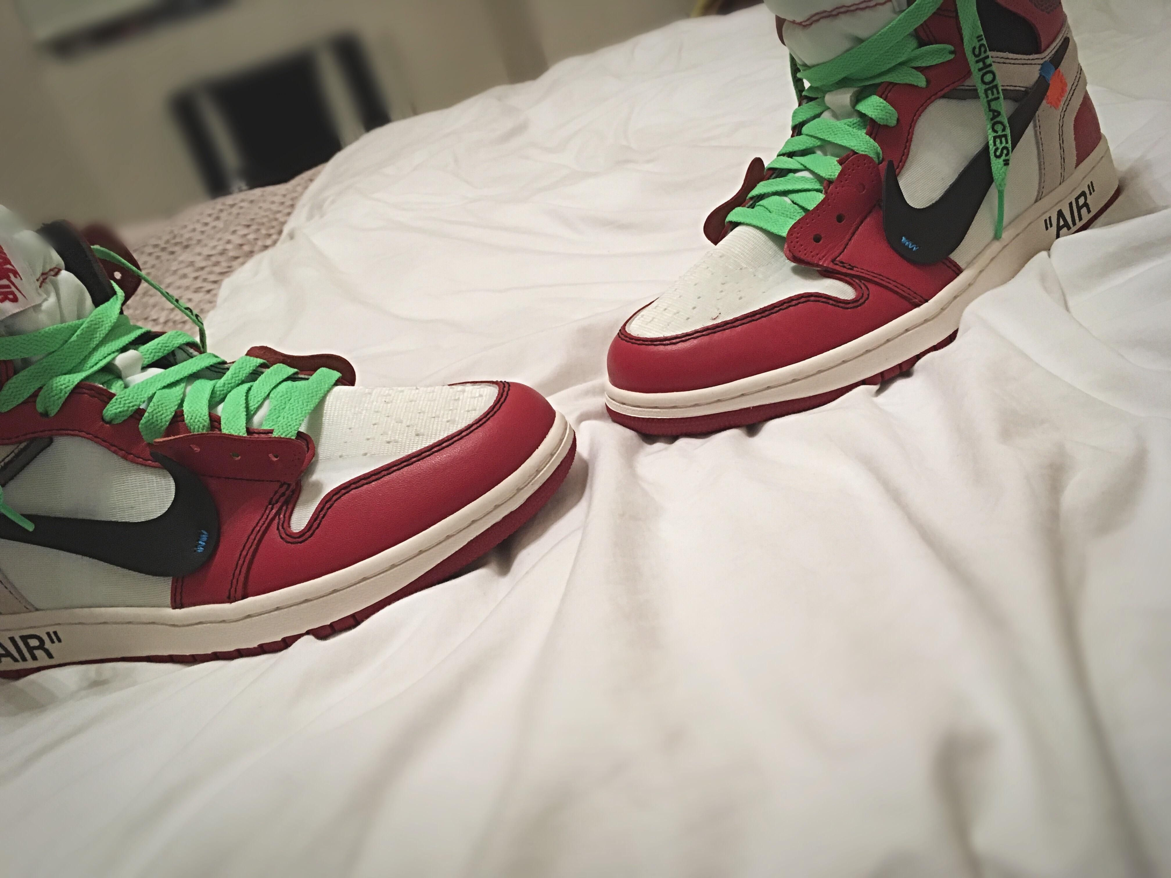 Just put green laces in my off white Jordan 1
