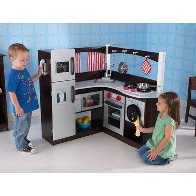 L Shaped Wood Corner Kids Play Kitchen Set In Espresso With