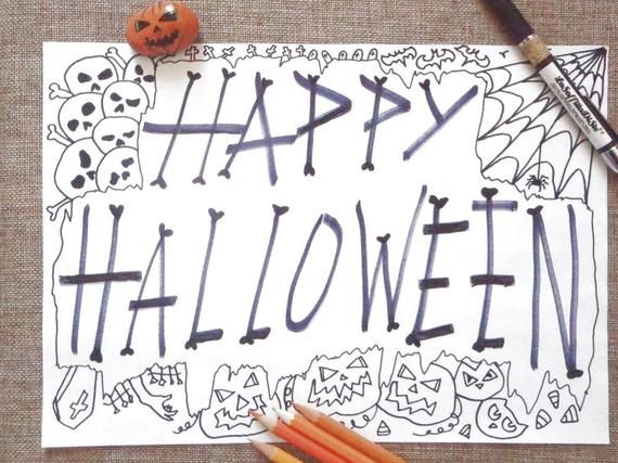 happy halloween coloring page adult jack o lantern skull