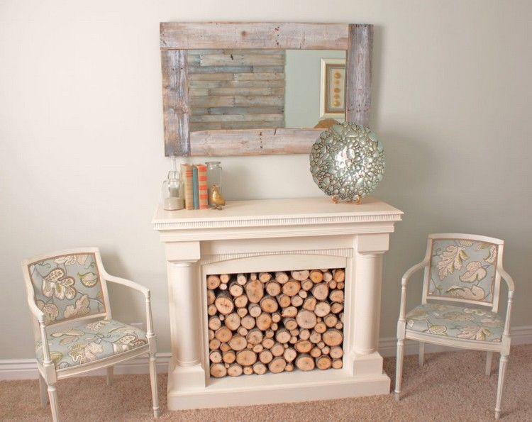 Kaminkonsole mit Brennholz gefüllt Wohnzimmer Pinterest Basteln