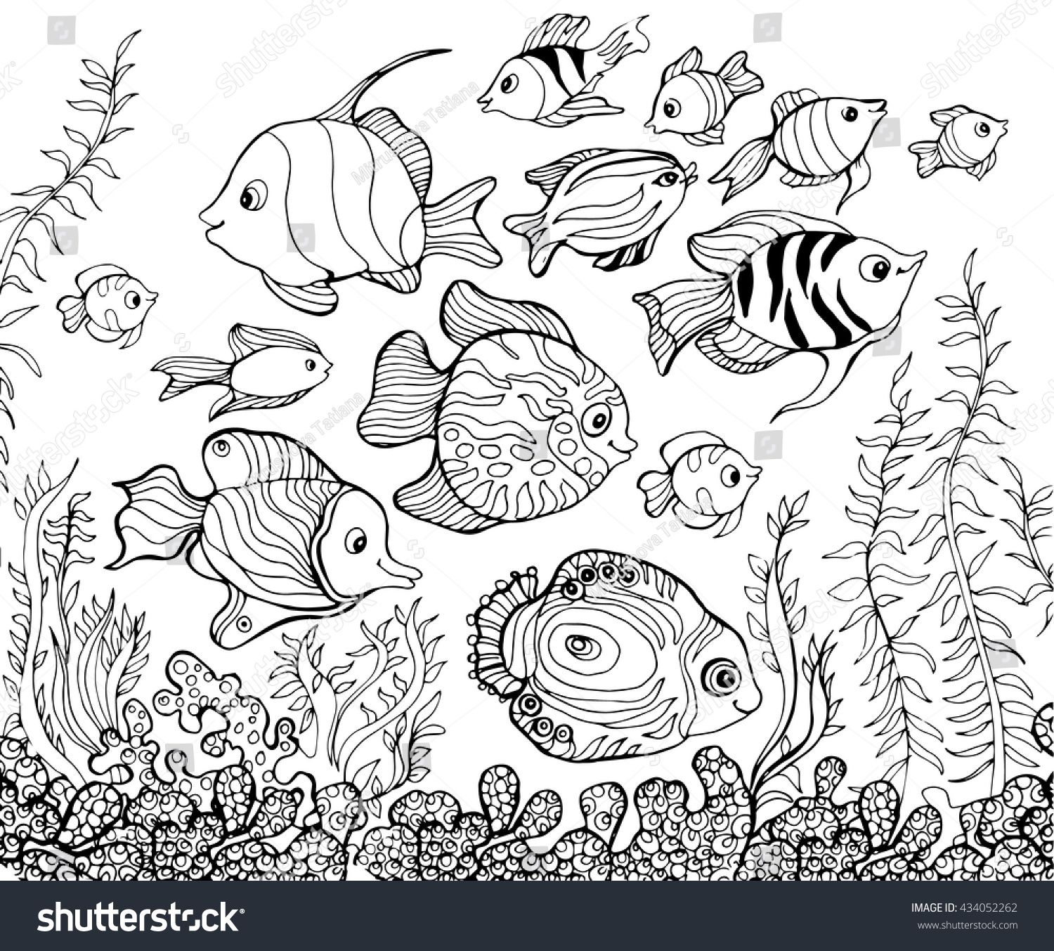 outline drawing underwaterfishcoloring pages for kids - Underwater Coloring Pages