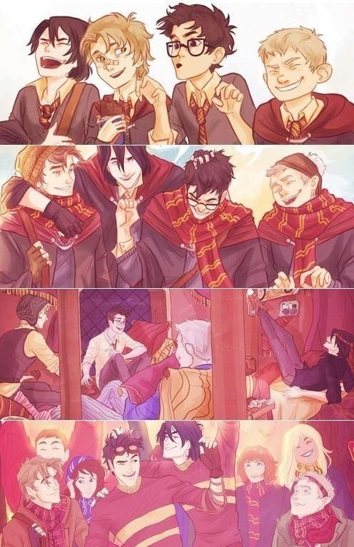 The Marauders, with in the last picture Molly & Arthur (However, Molly & Arthur finished school before the Marauders went to Hogwarts)