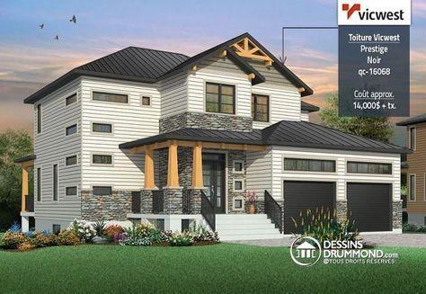 W3718 - Maison moderne rustique, garage double, 3 à 4 chambres, et