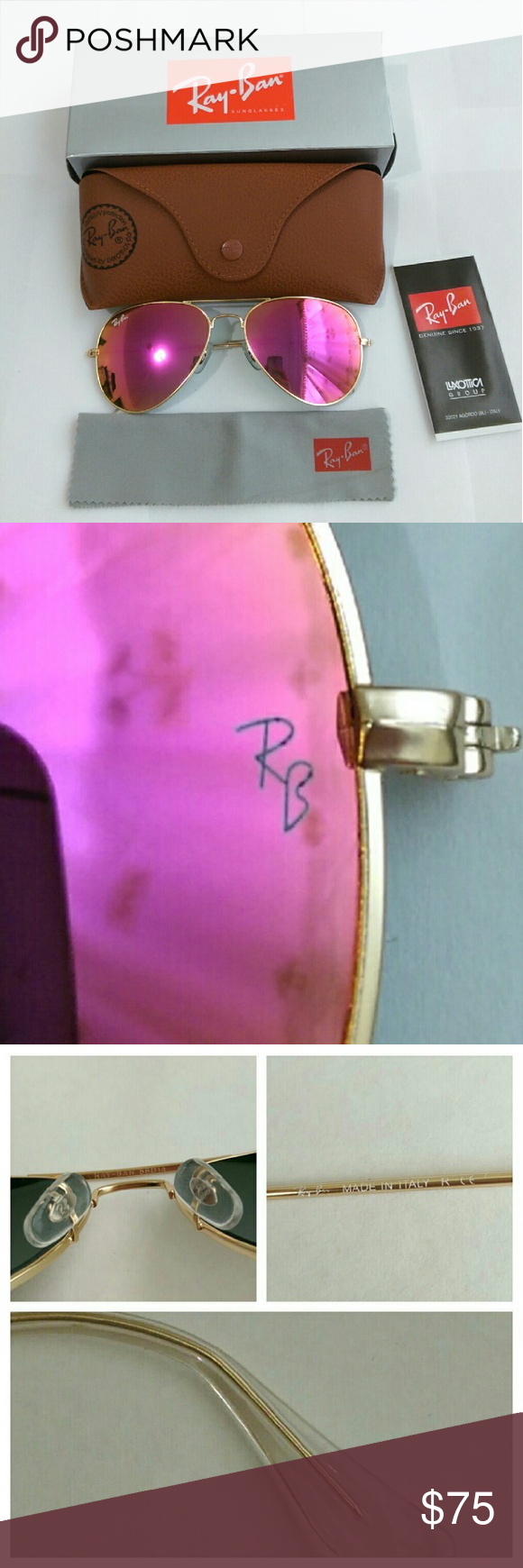 Hot pink Ray-Ban aviator sunglasses PRICE FIRM  Authentic  Brand new in box  Unisex Made in Italy (engraved on right temple ) Size 58mm Lens color -- hot pink (real glass lens for better vision) Gold frame Comes with box, case, cleaning cloth and booklet Fast Shipping with 2-3 days priority ( will ship same day if purchase before noon, otherwise will ship next business day from Monday - Saturday ) Trusted seller!!! Ray-Ban Accessories Sunglasses