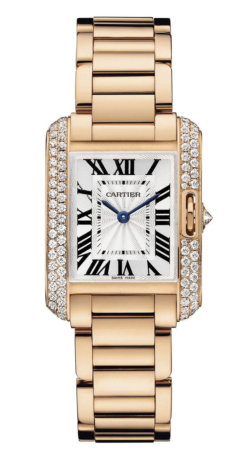 a6204f98a07 Tank Anglaise watch Small model in 18-carat pink gold with 0.8ct round  brilliant-cut diamonds and flinqué dial