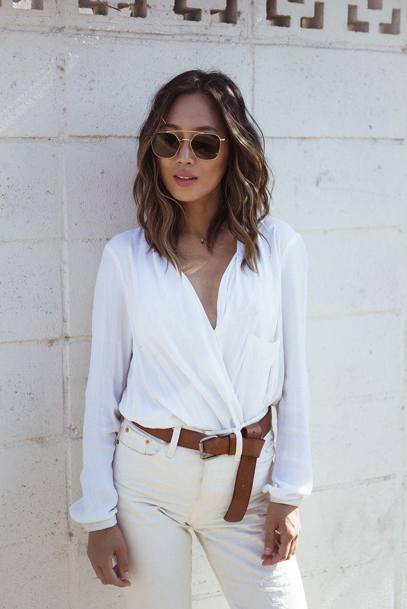 Doce Maneras Distintas De Llevar Camisa Blanca Esta Temporada Camisa De Moda Ropa Casual Para Mujer Chaquetas De Cuero Negras