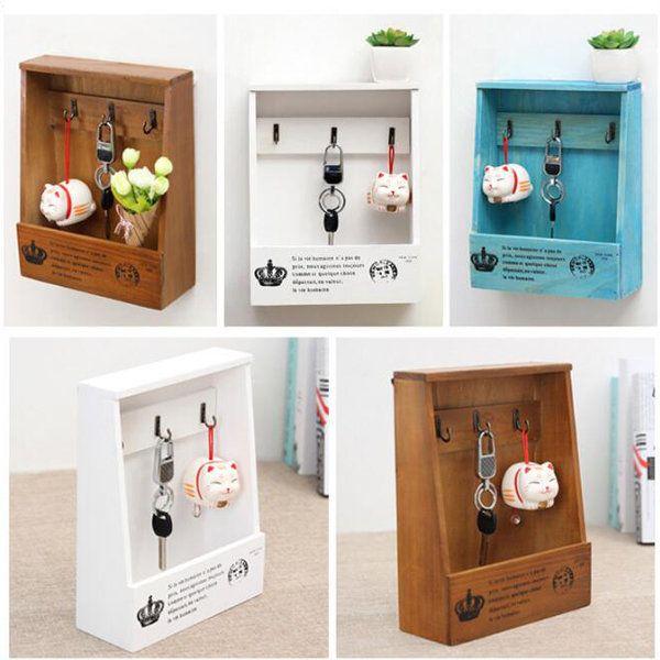 Decorative Key Box For The Wall Multifunction Wood Storage Rack Hanging Key Storage Box Retro Key