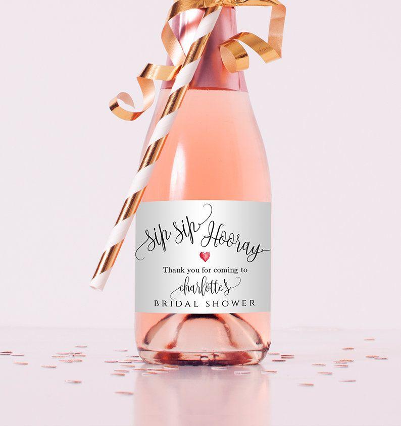 Sip Sip Hooray Mini Champagne Label Custom Bridal Shower