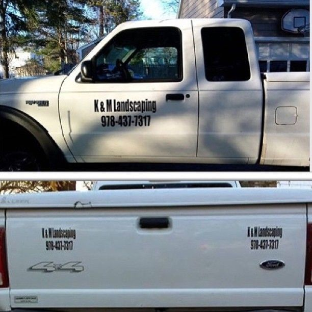 Thanks KM Landscaping For Your Vinyl Door Decal Order - Custom vinyl decals for metal