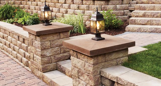 Anchor Block Products Column Cap Column Lights Colorful Patio Pool Retaining Wall