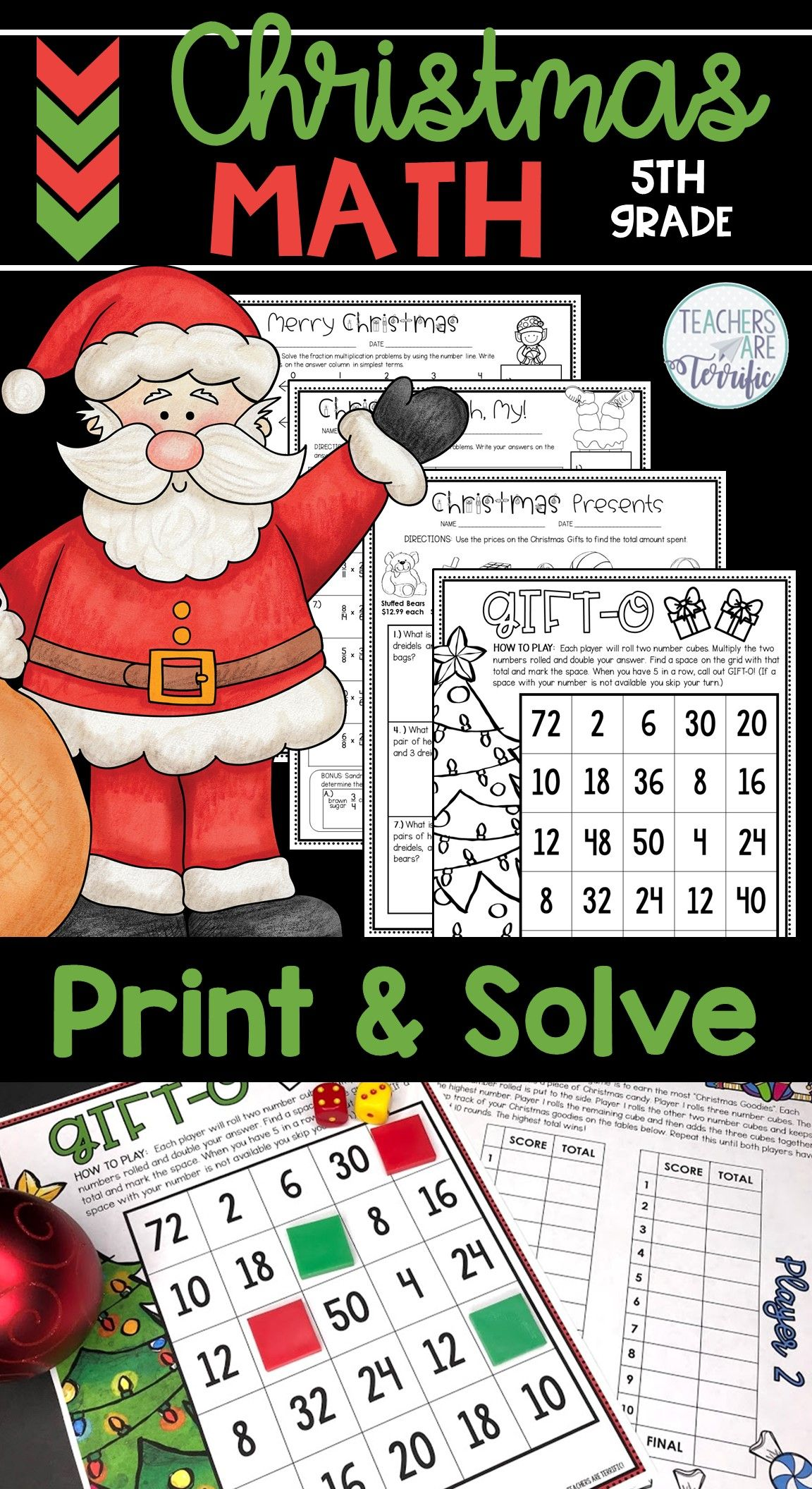 Christmas Math Worksheets Print And Solve Gr 5