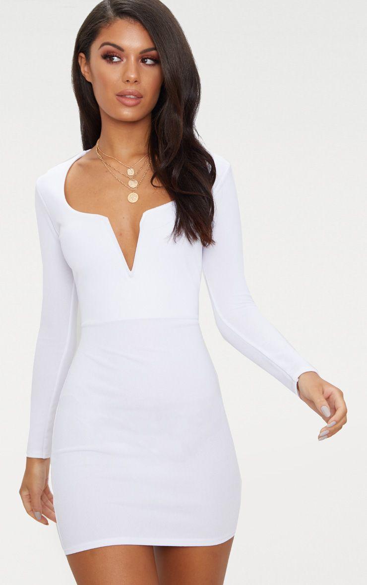 White Long Sleeve V Bar Plunge Bodycon Dress Long Sleeve Dress Outfit Plunge Bodycon Dress Dresses [ 1180 x 740 Pixel ]
