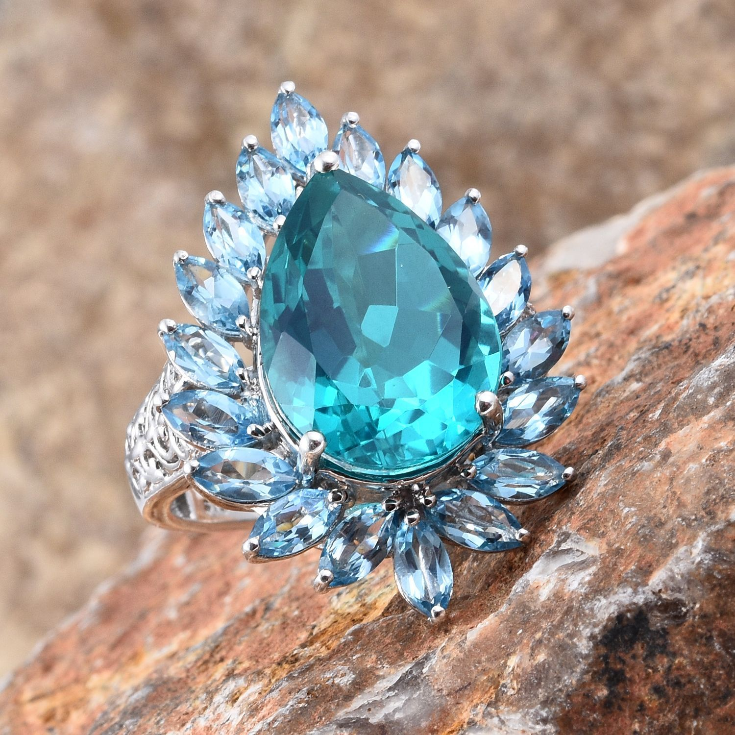 Capri Blue Quartz and Electric Blue Topaz Ring in Platinum Over Sterling Silver