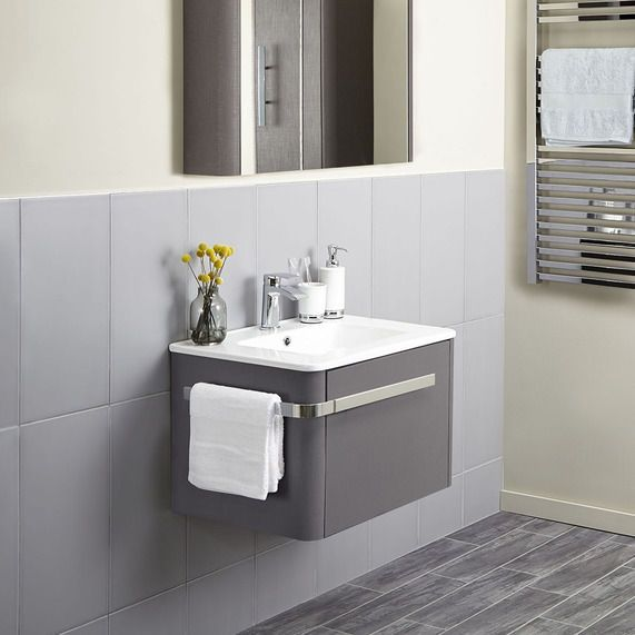 Linen 600mm Basin Wall Mounted Vanity Unit Grey Floating