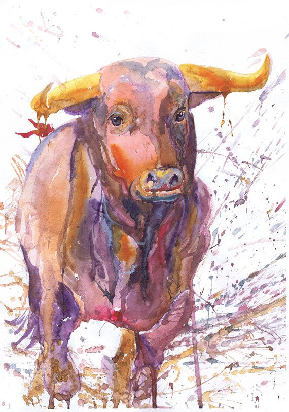 Cow Abstract Watercolour Painting Canvas Print Framed Animal Wall Art Picture