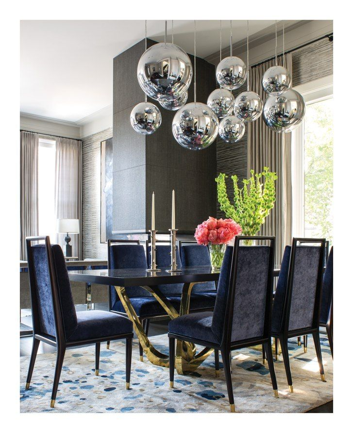 25 Contemporary Dining Rooms Desings: Blue Chairs...Hanging Lights