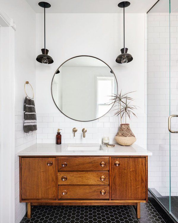 "30"" Oil-Rubbed Bronze Round Metal Framed Mirror  | Rejuvenation"