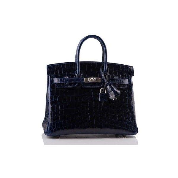 f82fa64ae73 Hermès Blue Sapphire Crocodile Skin Leather Birkin Satchel Tradesy  (98005555 IQD) ❤ liked on Polyvore featuring bags