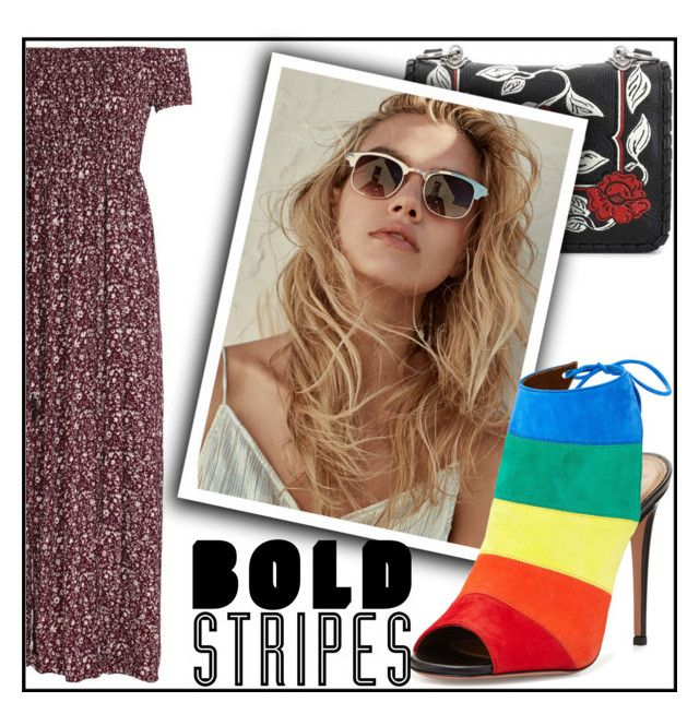 """Striped footwear"" by elisabetta-negro ❤ liked on Polyvore featuring Miu Miu, Aquazzura and BoldStripes"
