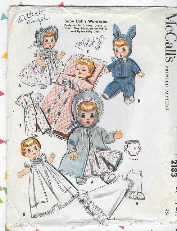 50s VINTAGE DOLL CLOTHES Sewing Pattern - McCalls 2183, For baby ...