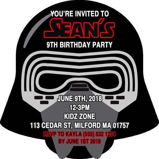 Star Wars Inspired Kylo Ren DieCut Birthday Party Invitations