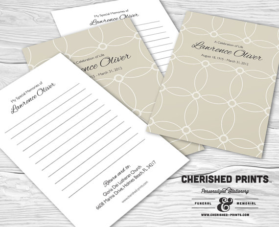 Interlocking Circles Memory Cards For Memorial And Funerals Cherished Prints Memorial Cards For Funeral Memory Cards Guest Book Sign