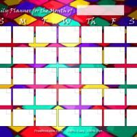 Printable Harlequin Themed Blank Monthly Calendar  Freeprintable