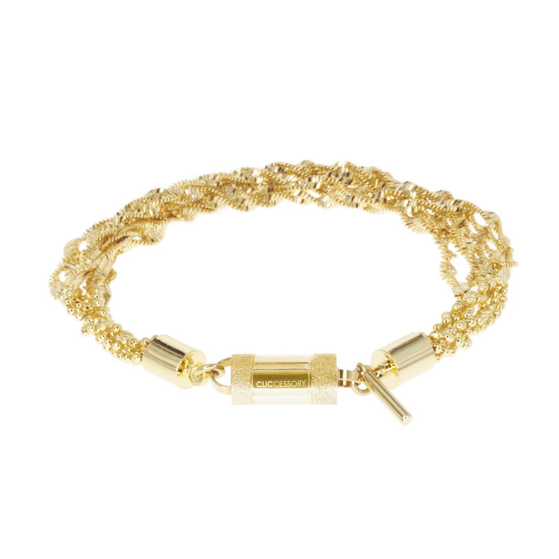 Women gold plated link chain bracelet cliccessory chain golden