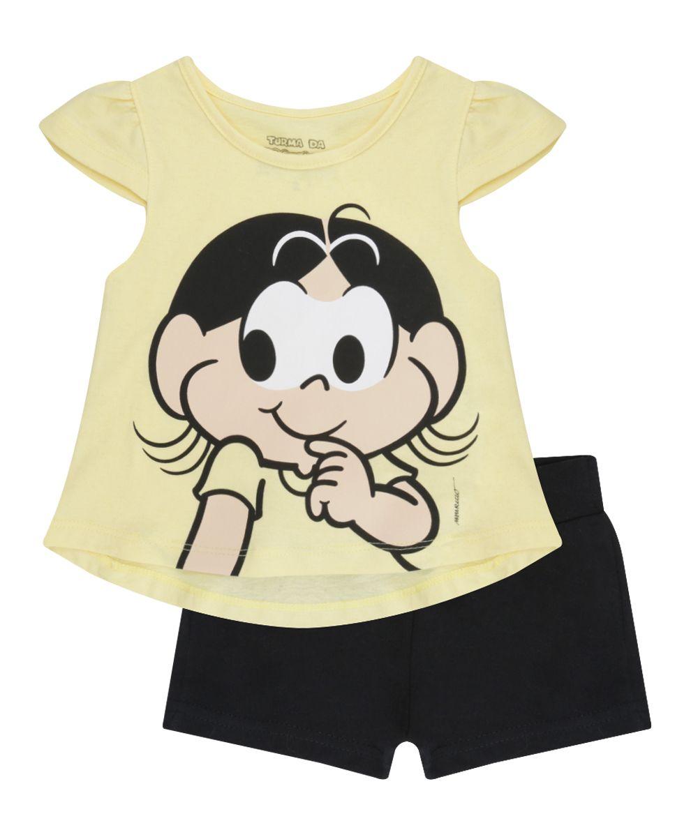 a8e508291 Conjunto Magali de Blusa Amarela + Short Preto - cea