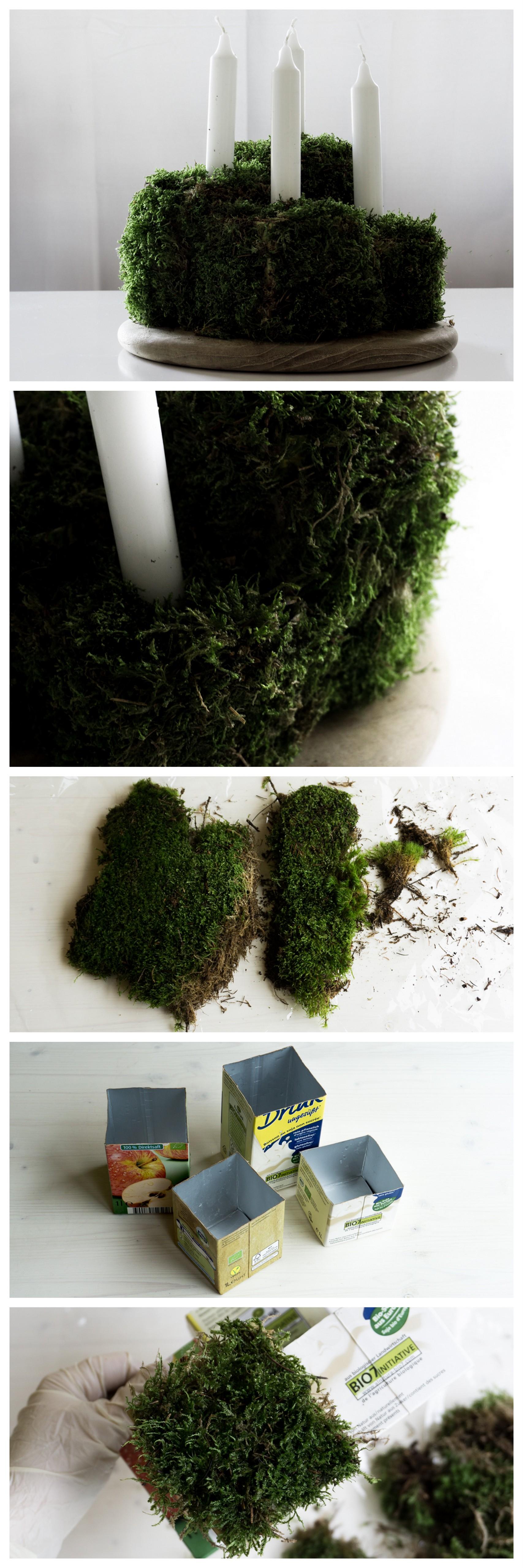 diy kubischer upcycling adventskranz aus moos und. Black Bedroom Furniture Sets. Home Design Ideas