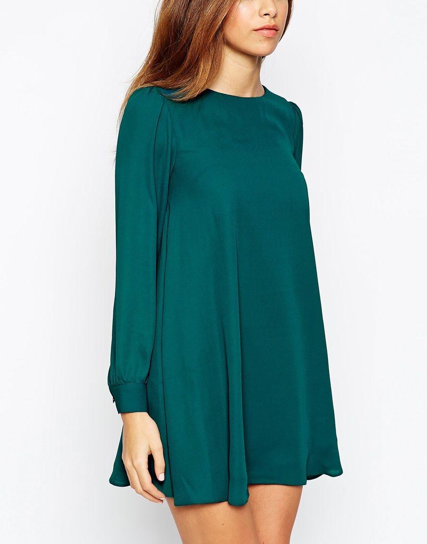 6e2da4ef635 PETITE Mini Babydoll Swing Dress with Long Sleeve | Šití - šaty 2.2 ...