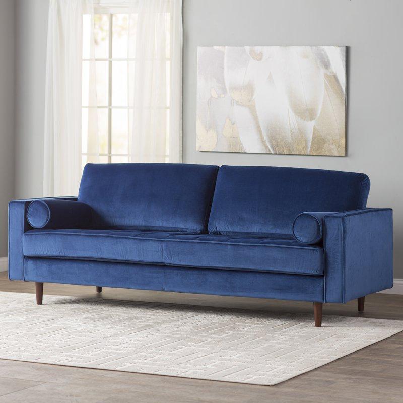 Allmodern Ravi Velvet 84 Square Arm Sofa Wayfair Best Sofa Furniture Blue Velvet Sofa