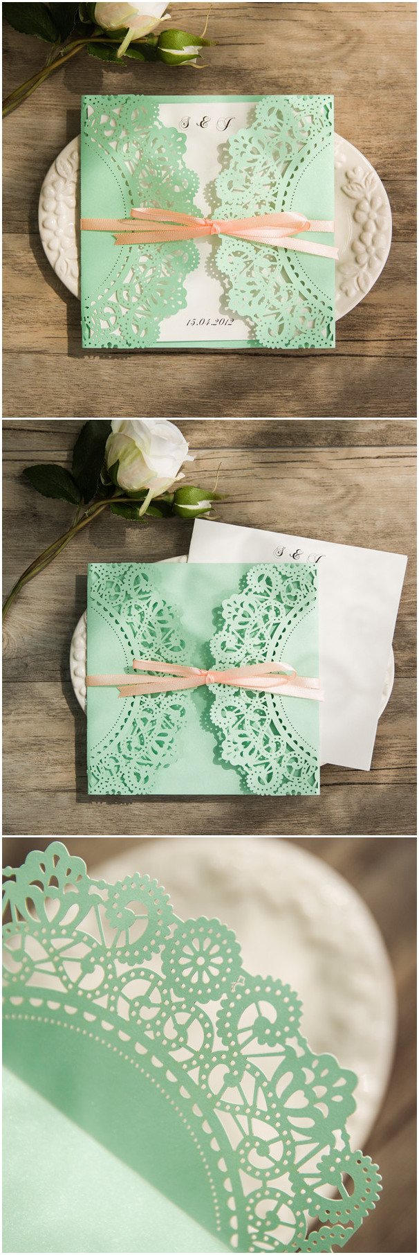 Affordable mint and peach ribbon laser cut wedding invites for Laser cut wedding invitations minted