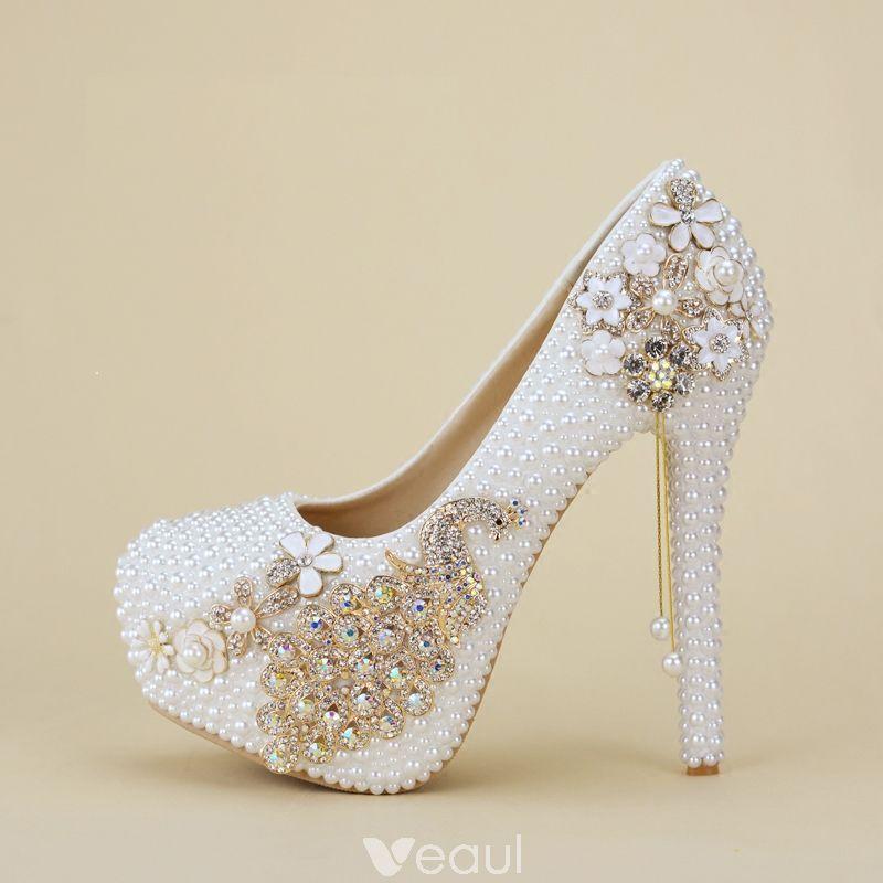 a43c71fbd5b Charming White Beading Wedding Shoes 2019 Pearl Rhinestone 14 cm ...