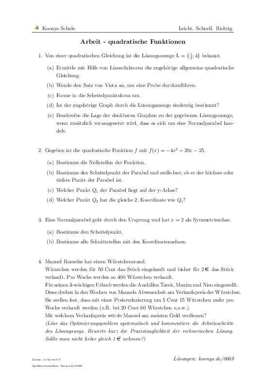Arbeit - quadratische Funktionen | Aufgaben mit Lösungen und ...