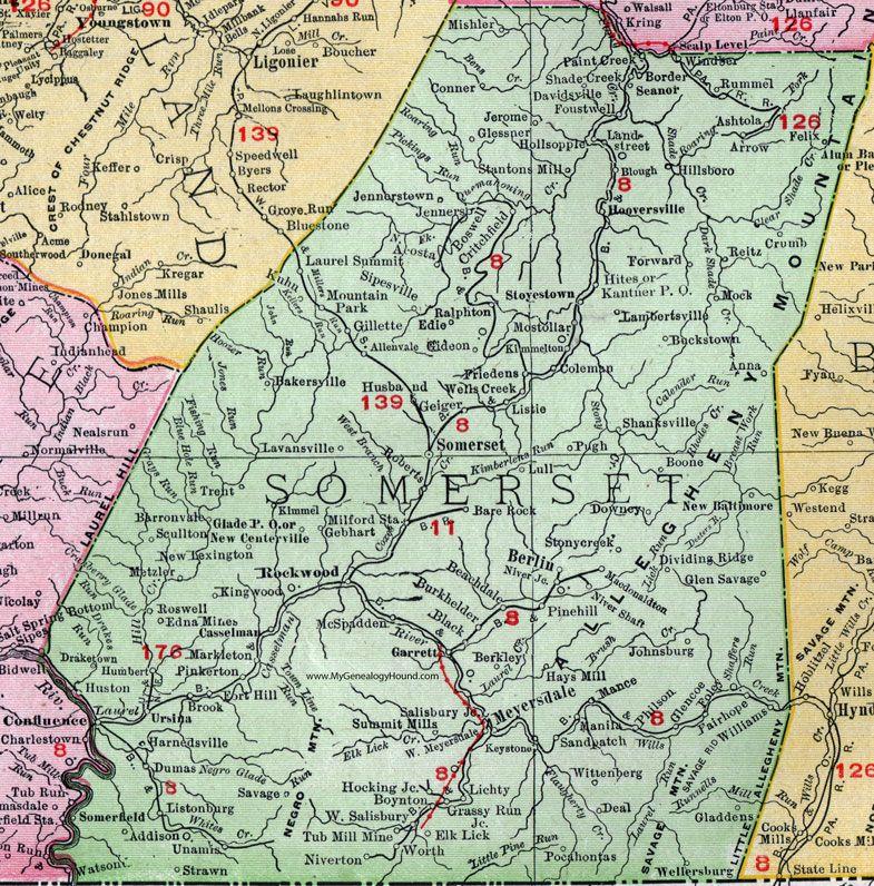 Somerset County Pennsylvania 1911 Map Berlin Meyersdale Confluence Rockwood Garrett West Salisbury Stoystown J Somerset County County Map Confluence