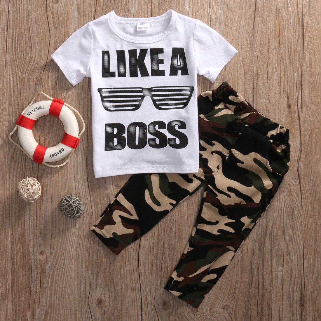 ce034b5ee US Stock Toddler Baby Kids Boys Clothes Set T-shirt TopsLong Pants ...