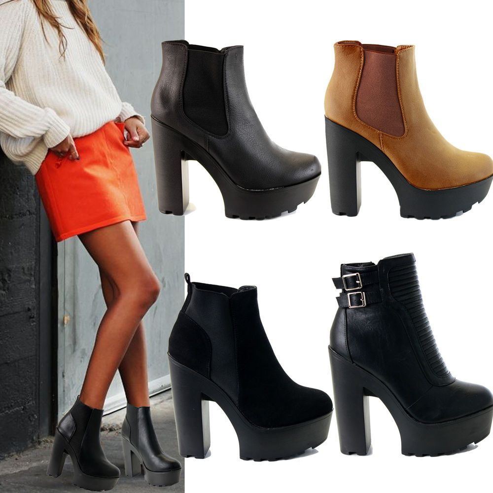 ab2c977f4828 Ladies Womens Cleated Chunky Platform Sole Block Heel Ankle Chelsea Boots  Shoes  Branded  AnkleBoots