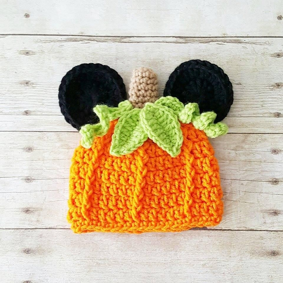 510f1f7e50c91 Crochet Mickey Mouse Pumpkin Beanie Hat Halloween Fall Infant ...