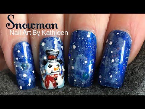 Snowman Nail Art Winter Nail Design Youtube Nail Art
