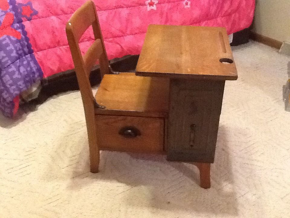Antique School Desk with Drawer by MOULTHROP Nice OAK Piece Small Desk - ANTIQUE SCHOOL DESK GLASS INK INKWELL BAKELITE TYPE COVER Ink