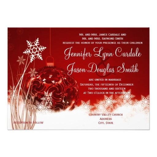 red white christmas holiday wedding invitations unique wedding