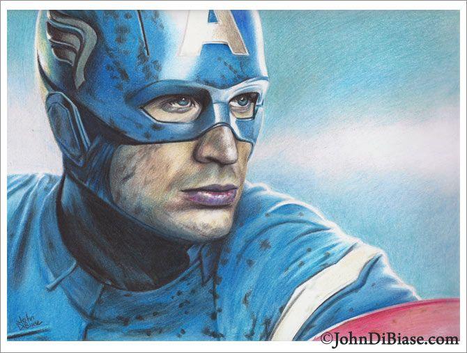 Full Color Captain America Colored Pencil Drawing Coisas Para Desenhar Curso De Desenho Desenhos Coloridos