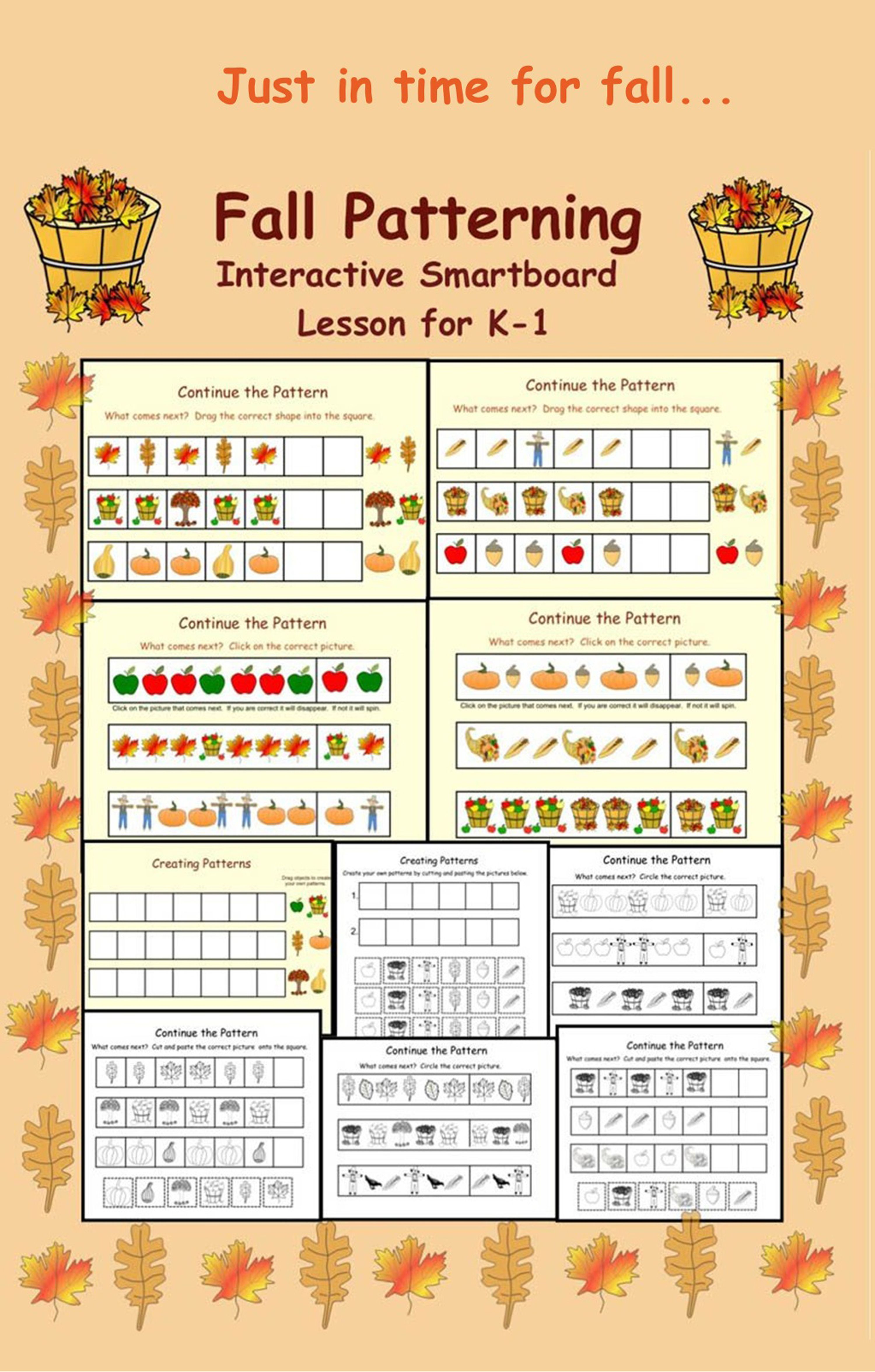 Fall Patterning Interactive Smartboard Lesson For K 1