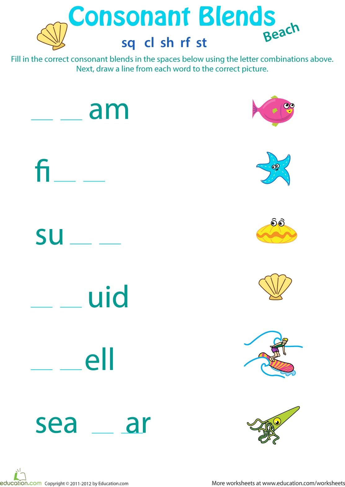 Two Letter Blends Worksheet For Kindergarten